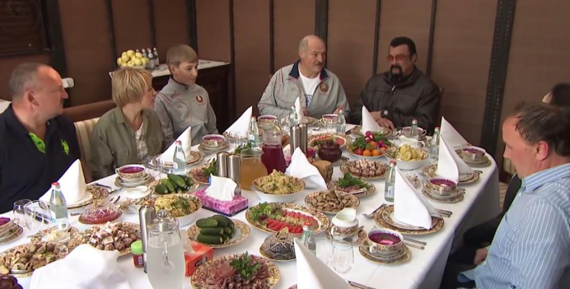 Belarus President Alexander Lukashenko welcomes American actor Steven Seagal to his residence in Minsk and feeds him with traditional Belarusian cuisine